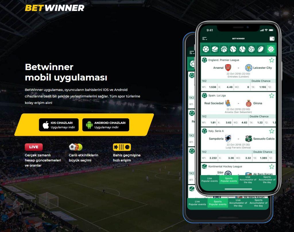 Betwinner- İOS ve Android mobil uygulamasını indirmek
